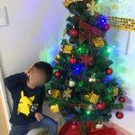 クリスマスツリーと大はしゃぎと