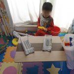 テレワーク机とおもちゃと